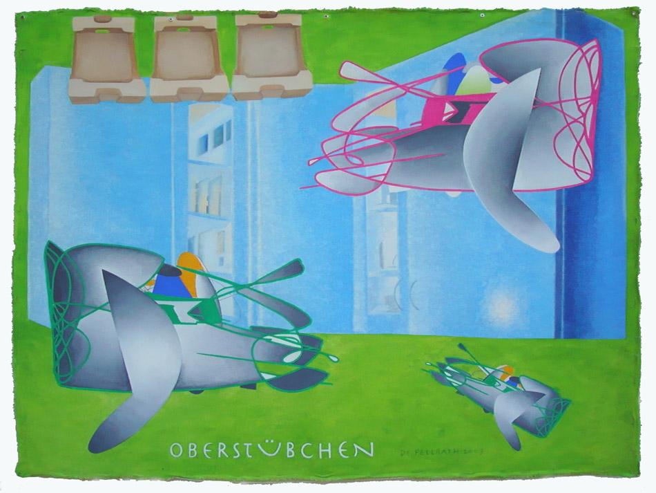 """"""" Oberstübchen """" Pigmente, Segeltuch 110 x 145 cm 2009"""