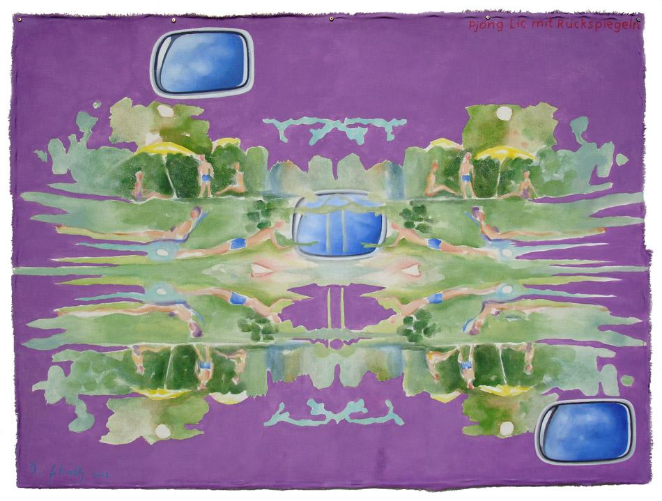""""""" Pjöng Lic mit Rückspiegeln """" Pigmente, Segeltuch 110 x 145 cm 2008"""